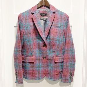 Talbots Pink Blue 2-Button Wool Blend Blazer